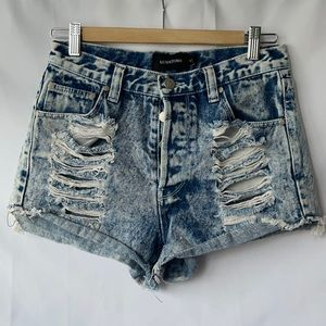 MINKPINK Acid-Wash Distressed Denim Shorts